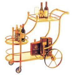 Xe đẩy rượu bằng gỗ 2 tầng XD-48