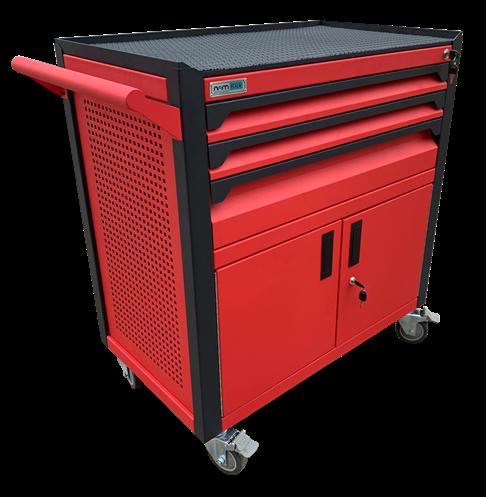 Tủ dụng cụ 3 ngăn kèm hộc đôi bên dưới có khóa OKASU N2T1RD3 (Đỏ)